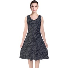 Black Rectangle Wallpaper Grey V Neck Midi Sleeveless Dress