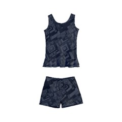 Black Rectangle Wallpaper Grey Kid s Boyleg Swimsuit