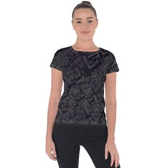 Black Rectangle Wallpaper Grey Short Sleeve Sports Top