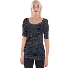 Black Rectangle Wallpaper Grey Wide Neckline Tee
