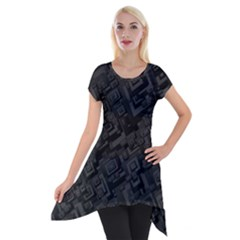Black Rectangle Wallpaper Grey Short Sleeve Side Drop Tunic