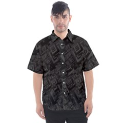 Black Rectangle Wallpaper Grey Men s Short Sleeve Shirt