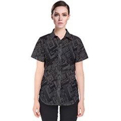 Black Rectangle Wallpaper Grey Women s Short Sleeve Shirt