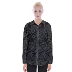 Black Rectangle Wallpaper Grey Womens Long Sleeve Shirt