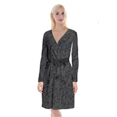Black Rectangle Wallpaper Grey Long Sleeve Velvet Front Wrap Dress