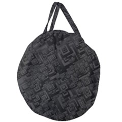 Black Rectangle Wallpaper Grey Giant Round Zipper Tote