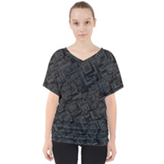 Black Rectangle Wallpaper Grey V Neck Dolman Drape Top