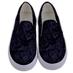 Black Rectangle Wallpaper Grey Kids  Canvas Slip Ons