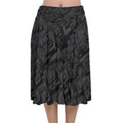 Black Rectangle Wallpaper Grey Velvet Flared Midi Skirt