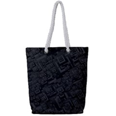 Black Rectangle Wallpaper Grey Full Print Rope Handle Tote (small) by Nexatart