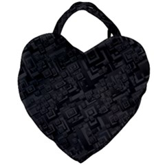 Black Rectangle Wallpaper Grey Giant Heart Shaped Tote