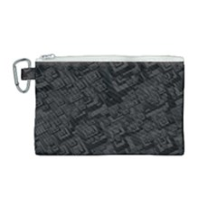 Black Rectangle Wallpaper Grey Canvas Cosmetic Bag (medium)