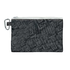 Black Rectangle Wallpaper Grey Canvas Cosmetic Bag (large)