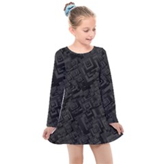 Black Rectangle Wallpaper Grey Kids  Long Sleeve Dress