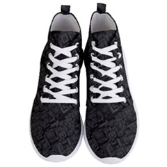 Black Rectangle Wallpaper Grey Men s Lightweight High Top Sneakers