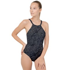 Black Rectangle Wallpaper Grey High Neck One Piece Swimsuit