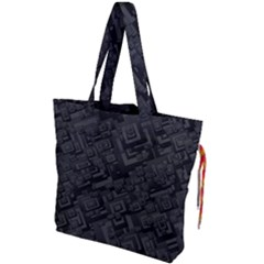 Black Rectangle Wallpaper Grey Drawstring Tote Bag