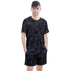 Black Rectangle Wallpaper Grey Men s Mesh Tee And Shorts Set