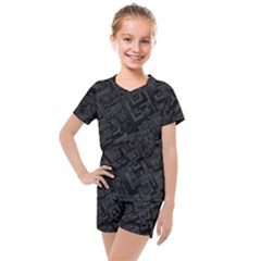 Black Rectangle Wallpaper Grey Kids  Mesh Tee And Shorts Set