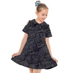 Black Rectangle Wallpaper Grey Kids  Short Sleeve Shirt Dress