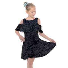 Black Rectangle Wallpaper Grey Kids  Shoulder Cutout Chiffon Dress