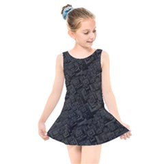 Black Rectangle Wallpaper Grey Kids  Skater Dress Swimsuit