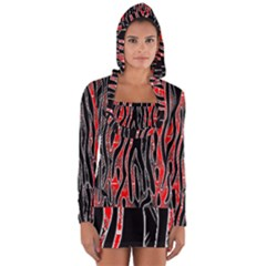 Blackandredswirldesignflipbigger Long Sleeve Hooded T Shirt