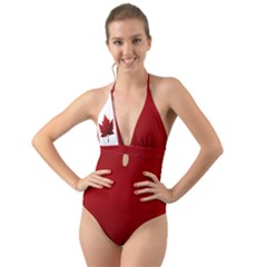 Canada Flag Halter Cut-out One Piece Swimsuit