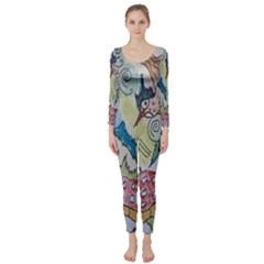 Watercolor Postcard2 Long Sleeve Catsuit