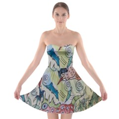 Watercolor Postcard2 Strapless Bra Top Dress by chellerayartisans