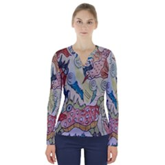 Watercolor Postcard2 V Neck Long Sleeve Top