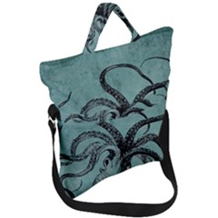 Vintage Octopus  Fold Over Handle Tote Bag