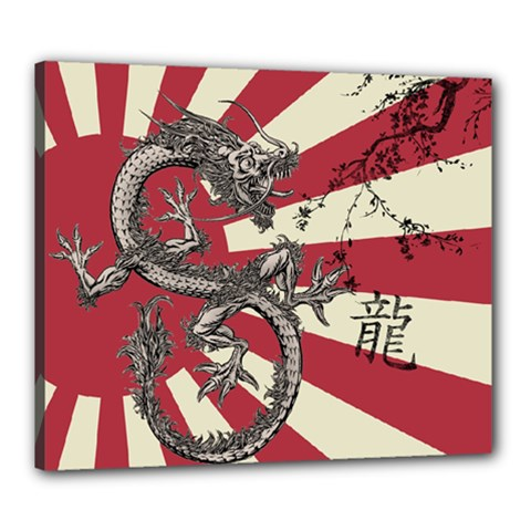 Rising Sun Flag Canvas 24  X 20  (stretched)