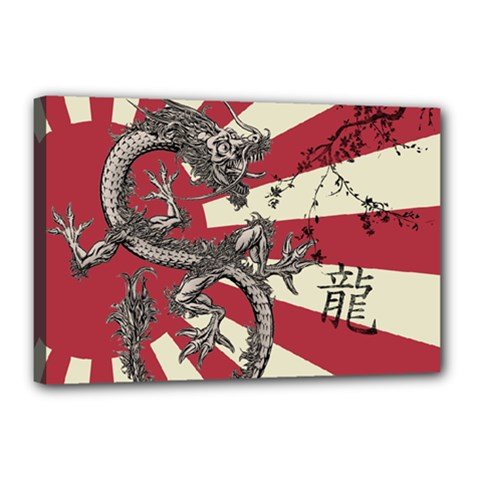 Rising Sun Flag Canvas 18  X 12  (stretched)