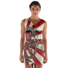 Rising Sun Flag Wrap Front Bodycon Dress