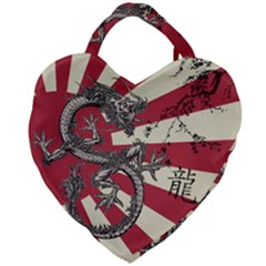 Rising Sun Flag Giant Heart Shaped Tote