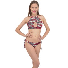 Rising Sun Flag Cross Front Halter Bikini Set