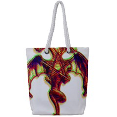 Demon Full Print Rope Handle Tote (small) by ShamanSociety