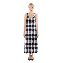 Square Diagonal Pattern Seamless Sleeveless Maxi Dress