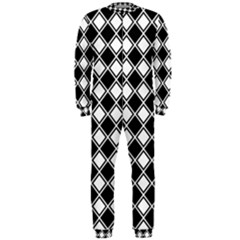 Square Diagonal Pattern Seamless Onepiece Jumpsuit (men)