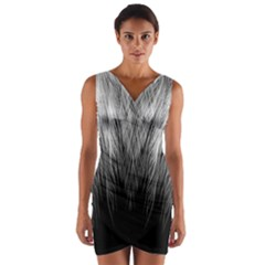 Feather Graphic Design Background Wrap Front Bodycon Dress