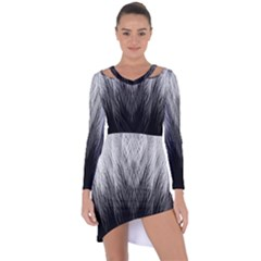 Feather Graphic Design Background Asymmetric Cut Out Shift Dress