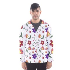 Flowers Pattern Texture Nature Hooded Windbreaker (men)
