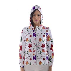 Flowers Pattern Texture Nature Hooded Windbreaker (women)