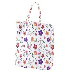 Flowers Pattern Texture Nature Giant Grocery Tote