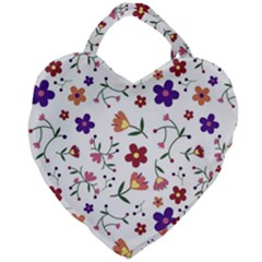 Flowers Pattern Texture Nature Giant Heart Shaped Tote