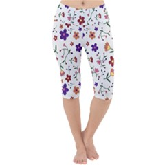 Flowers Pattern Texture Nature Lightweight Velour Cropped Yoga Leggings
