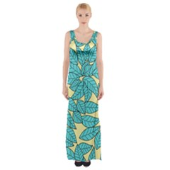 Leaves Dried Leaves Stamping Maxi Thigh Split Dress by Nexatart