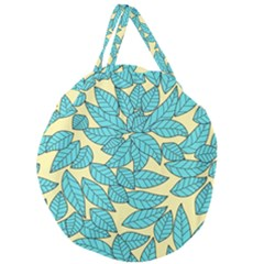 Leaves Dried Leaves Stamping Giant Round Zipper Tote