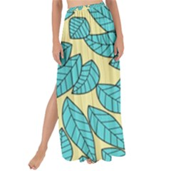 Leaves Dried Leaves Stamping Maxi Chiffon Tie Up Sarong by Nexatart